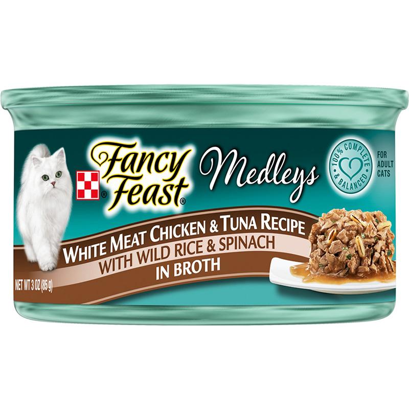 FANCY FEAST - MEDLEYS - (White Meat Chicken & Tuna Recipe /w Wild Rice & Spinach in Broth) - 3oz