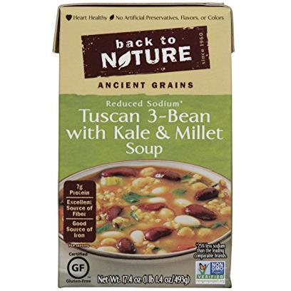 BACK TO NATURE - TUSCAN 3-BEAN /W KALE & MILLET SOUP - NON GMO - GLUTEN FREE - 17.4oz