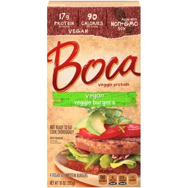 BOCA - VEGAN VEGGIE BURGERS - NON GMO - VEGAN - SOY FREE - 10oz
