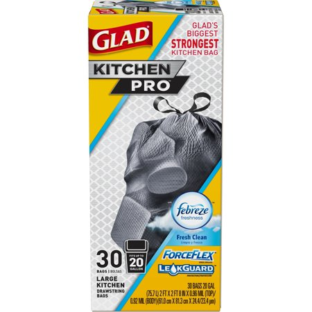 GLAD - KITCHEN PRO 20 GAL LARGE KITCHEN (Febrize | Fresh Clean) - 30 BAGS