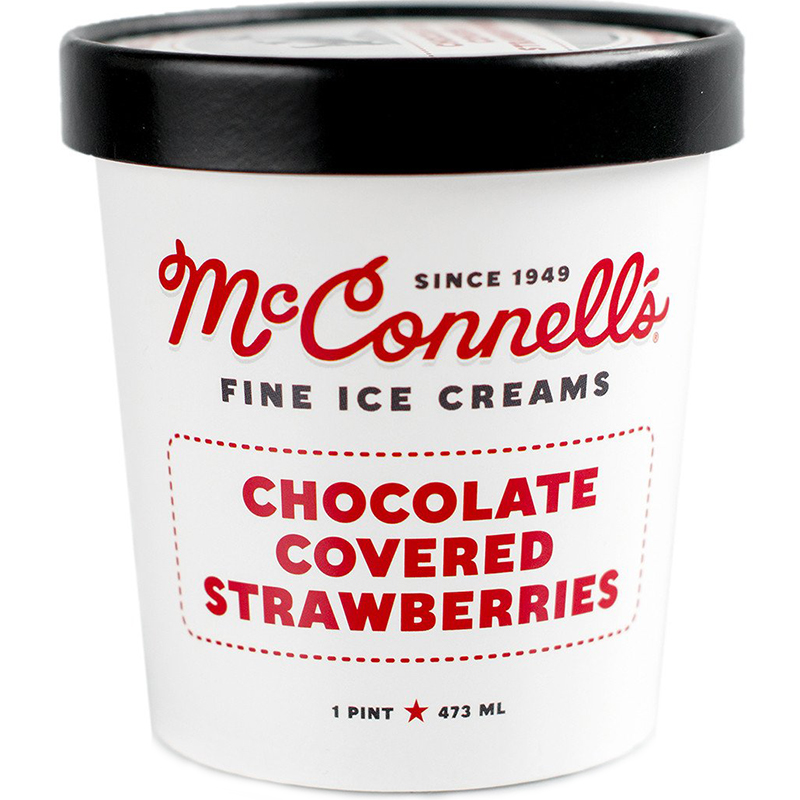 McCONNELL'S - FINE ICE CREAMS - GLUTEN FREE - (Chocolate Covered Strawberry) - 16oz