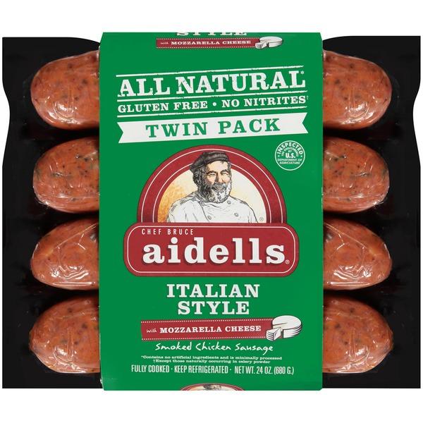 AIDELLS - SMOKED CHICKEN SAUSAGE - GLUTEN FREE - (Italian Style /w Mozzarella Cheese) - 12oz