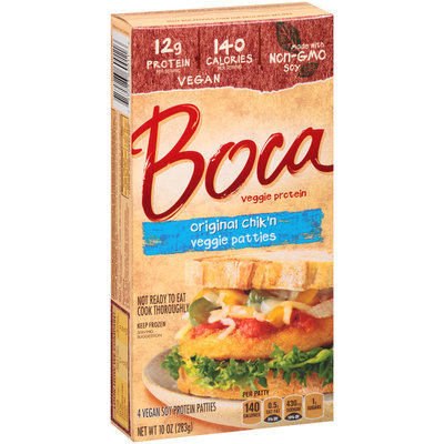 BOCA - ORIGINAL CHIK'N VEGGIE PATTIES - NON GMO - VEGAN - SOY FREE - 10oz