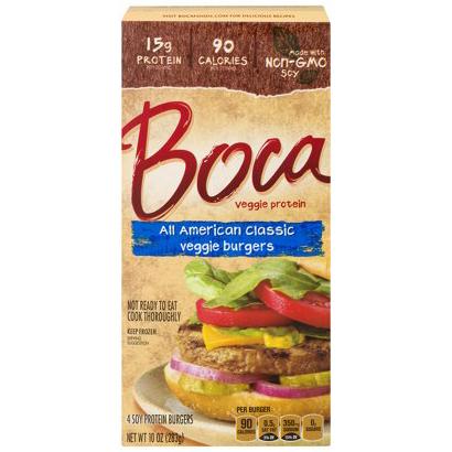 BOCA - ALL AMERICAN CLASSIC VEGGIE BURGERS - NON GMO - VEGAN - SOY FREE - 10oz