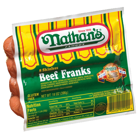 NATHAN'S - 8 SKINLESS BEEF FRANKS - GLUTEN FREE - 14oz