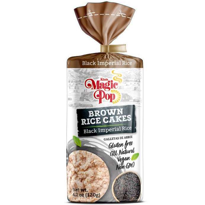 KIM'S MAGIC POP - BROWN RICE CAKES - NON GMO - GLUTEN FREE - VEGAN - (Black Imperial Rice) - 4.2oz