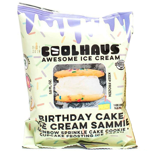 COOLHOUS - BIRTHDAY CAKE ICE CREAM SAMMIE (Rinvow Sprinkle Cake Cookie + Frosting Ice Cream) - 5.8oz