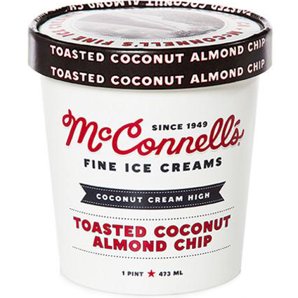 McCONNELL'S - FINE ICE CREAMS - GLUTEN FREE - (Toasted Coconut Almond Chip) - 16oz