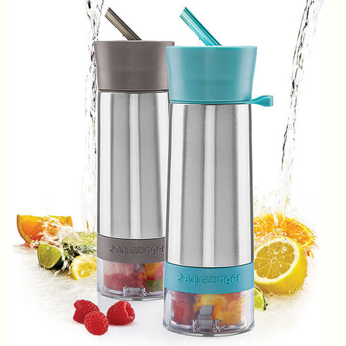 AQUA ZINGER - FLAVORED INFUSER WATER BOTTEL - PINK, BLUE, GREEN, GRAY