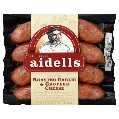 AIDELLS - SMOKED CHICKEN SAUSAGE - GLUTEN FREE - (Roaster Garlic & Gruyere Cheese) - 12oz