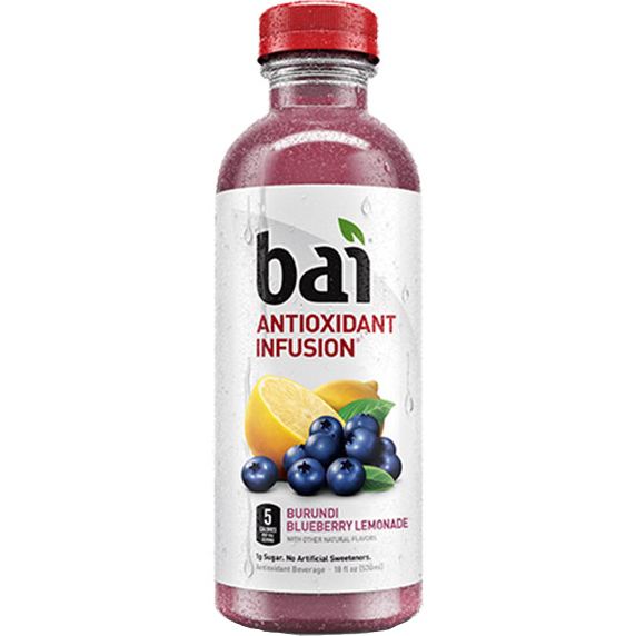 BAI - ANTIOXIDANT SUPERTEA - NON GMO - GLUTEN FREE - VEGAN - (Burundi Blueberry Lemonade) - 18oz