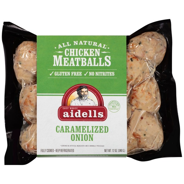 AIDELLS - CHICKEN MEATBALLS - GLUTEN FREE - (Caramelized Onion) - 12oz