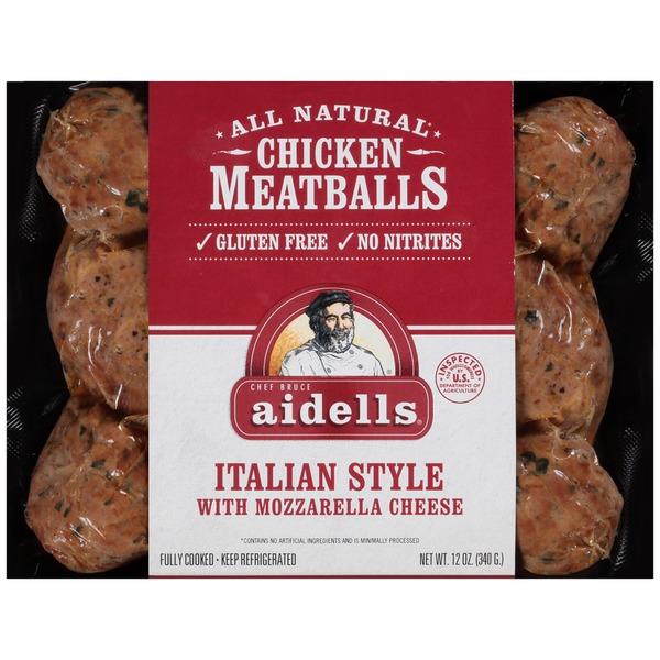AIDELLS - CHICKEN MEATBALLS - GLUTEN FREE - (Italian Style /w Mozzarella Cheese) - 12oz