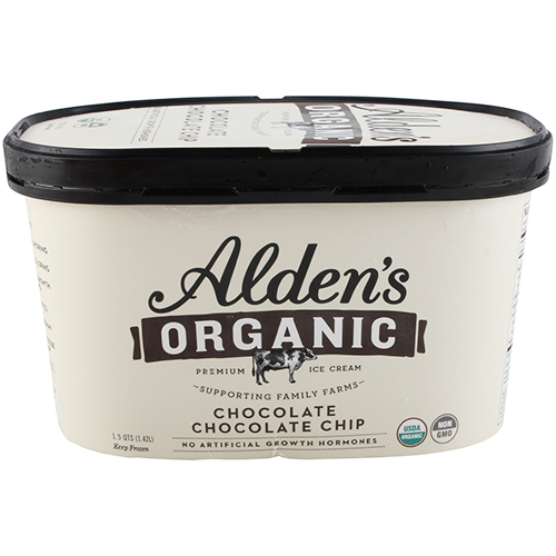 ALDEN'S - ORGANIC CHOCOLATE CHOCOLATE CHIP - NON GMO - 1.5qts