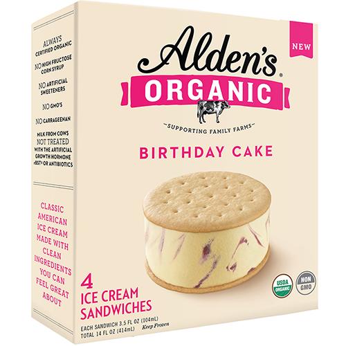 ALDEN'S - ORGANIC ICE CREAM SANDWICHES - NON GMO - (Birthday Cake) - 14oz(4PCS)