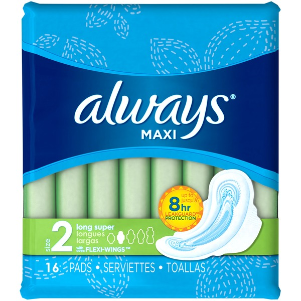 ALWAYS - MAXI - (Size 2 Long Super /w Flexi Wings) - 16pads