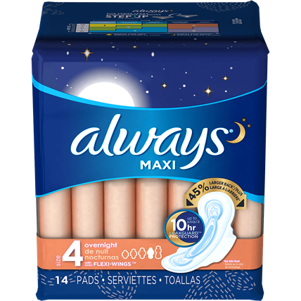 ALWAYS - MAXI - (Size 4 Overnight /w Flexi Wings) - 14pads