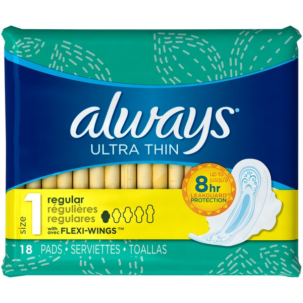 ALWAYS - ULTRA THIN - (Size 1 Regular /w Flexi Wings) - 18pads