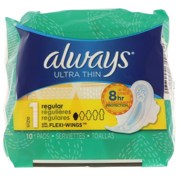 ALWAYS - ULTRA THIN - (Size 1 Regular /w Flexi Wings) - 10pads