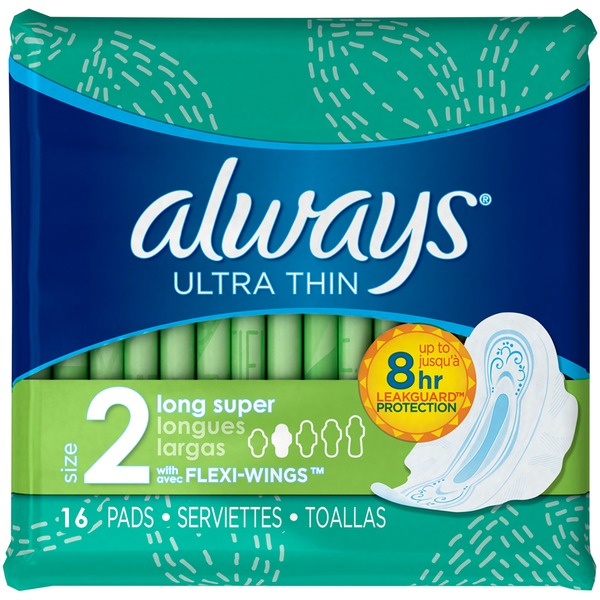 ALWAYS - ULTRA THIN - (Size 2 Long Super /w Flexi Wings) - 16pads