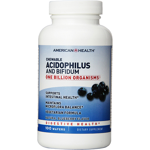 AMERICAN HEALTH - CHEWABLE ACIDOPHILUS AND BIFIDUM - (Blueberry) - 100 WAFERS