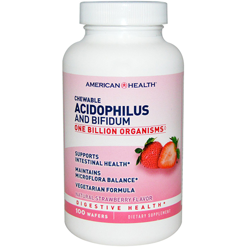 AMERICAN HEALTH - CHEWABLE ACIDOPHILUS AND BIFIDUM - (Strawberry) - 100 WAFERS