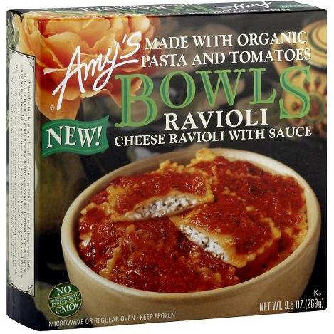 AMY'S - BOWLS RAVIOLI (Cheese Ravioli /w Sauce) - NON GMO - 9.5oz