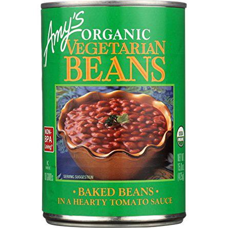 AMY'S - ORGANIC VEGETABLE BEANS - NON GMO - GLUTEN FREE - (BAKED BEANS   /w Tomato Sauce) - 14.7oz