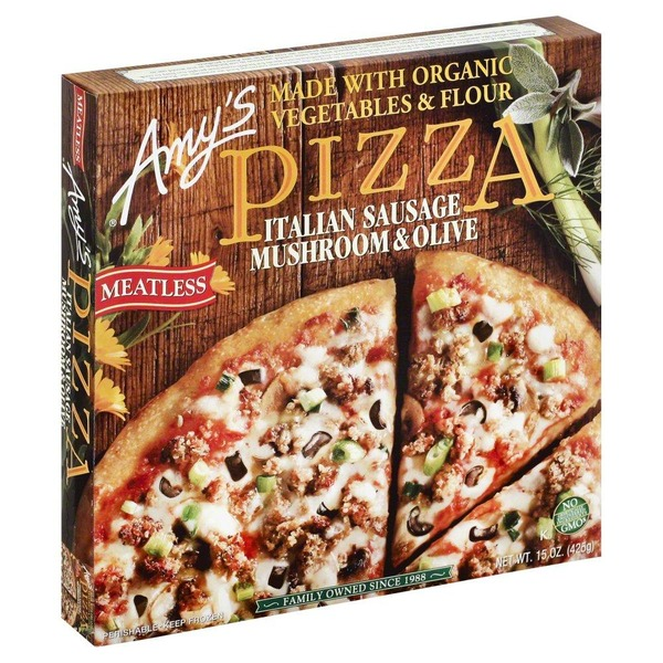 AMY'S - PIZZA - NON GMO - (Meatless Italian Sausage, Mushroom & Olive) - 15oz