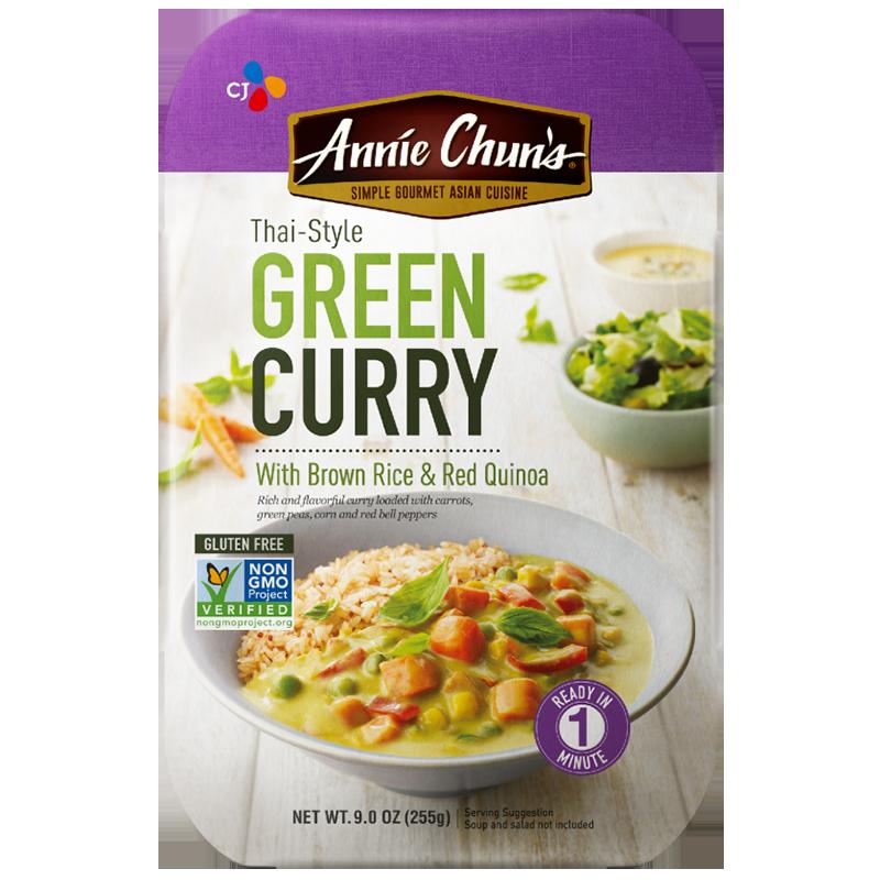 ANNIE CHUN'S - THAI STYLE GREEN CURRY /W BROWN RICE & RED QUINOA - NON GMO - GLUTEN FREE - 9oz