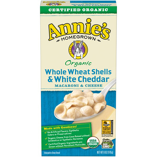 ANNIE'S - MACARONI & CHEESE - (Whole Wheat Shells & White Cheddar) - 6oz