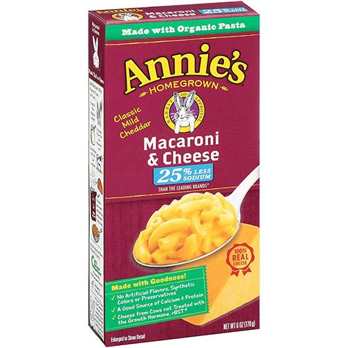 ANNIE'S - MACARONI & CHEESE - (Classic Mild Cheddar | 25% Less Sodium) - 6oz