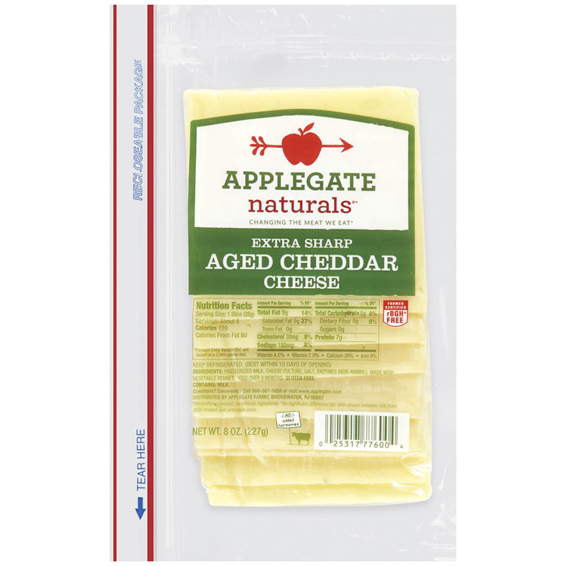 APPLEGATE - AGED CHEDDAR CHEESE - (Extra Sharp) - 8oz