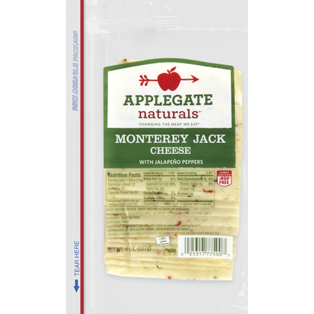 APPLEGATE - MONTEREY JACK CHEESE /W JALAPENO PEPPERS - 8oz