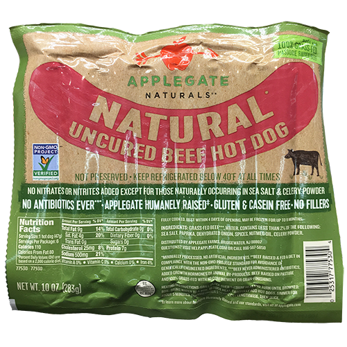 APPLEGATE - NATURAL UNCURED BEEF HOT DOG - NON GMO - GLUTEN FREE - 10oz