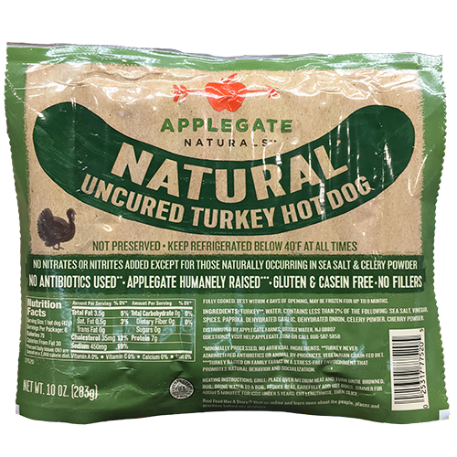APPLEGATE - NATURAL UNCURED TURKEY HOT DOG -  - GLUTEN FREE - 10oz