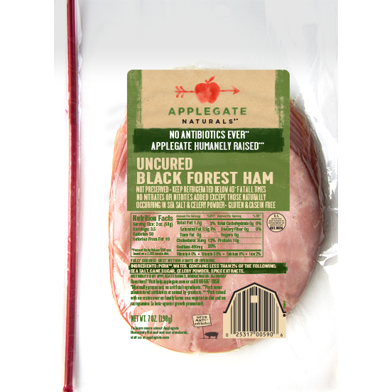 APPLEGATE - UNCURED BLACK FOREST HAM - 7oz