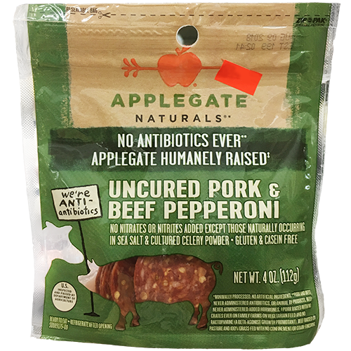 APPLEGATE - UNCURED PORK & BEEF PEPPERONI - 4oz