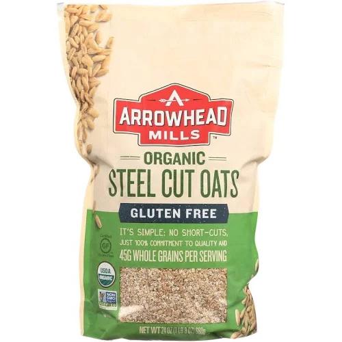 ARROWHEAD MILLS - ORGANI STEEL NUT OATS - NON GMO - GLUTEN FREE - 26oz