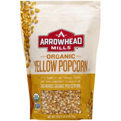 ARROWHEAD MILLS - ORGANIC YELLOW POPCORN - NON GMO - GLUTEN FREE - 28oz