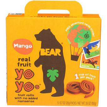 BEAR - REAL FRUIT YOYO - NON GMO - (Mango) - 5PCS 3.5oz