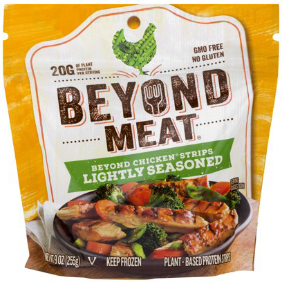 BEYOND MEAT - LIGHTLY SEASONED CHICKEN STRIPS - NON GMO - GLUTEN FREE - 9oz