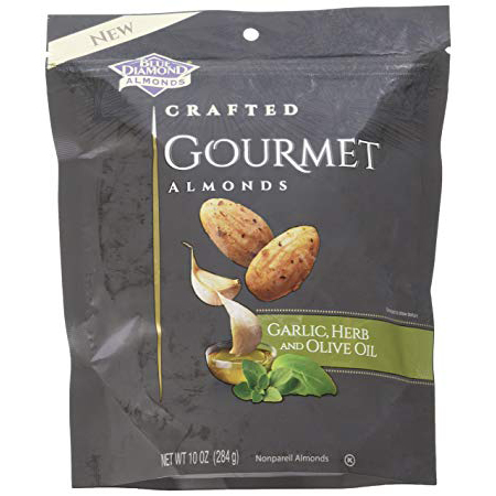 BLUE DIAMOND - CRAFTED GOURMET ALMONDS - (Garlic Herb and Olive Oil) - 5oz