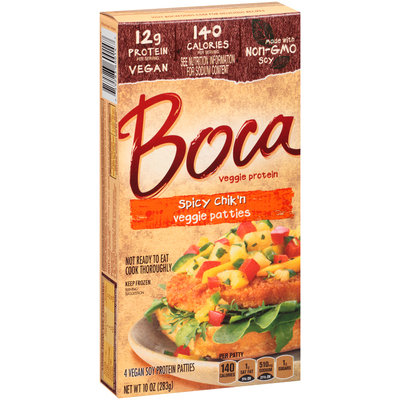 BOCA - SPICY CHIK'N VEGGIE PATTIES - NON GMO - VEGAN - SOY FREE - 10oz