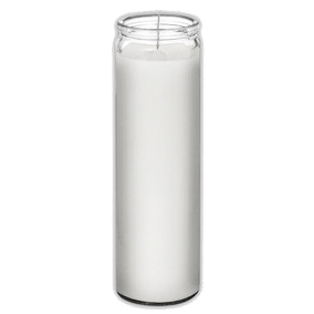 "BRILUX - CLASSIC CANDLES IN GLASS - (Pain White) - 8"" TALL"