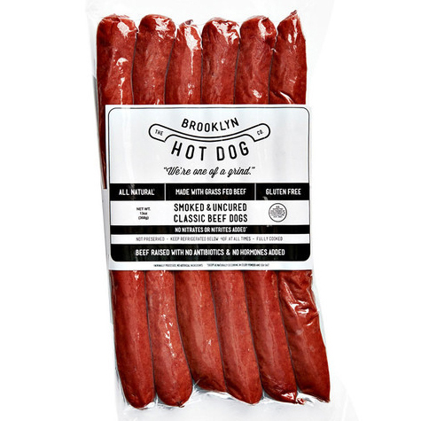 BROOKLYN HOT DOG - ALL NATURAL - GLUTEN FREE - (Smoked & Uncured Classic Beef Dogs) - 13oz