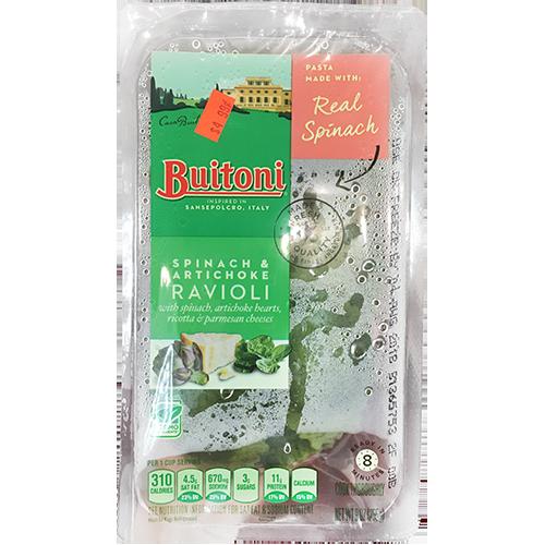 BUITONI - SPINACH & ARTICHOKE RAVIOLI - NON GMO - 9oz