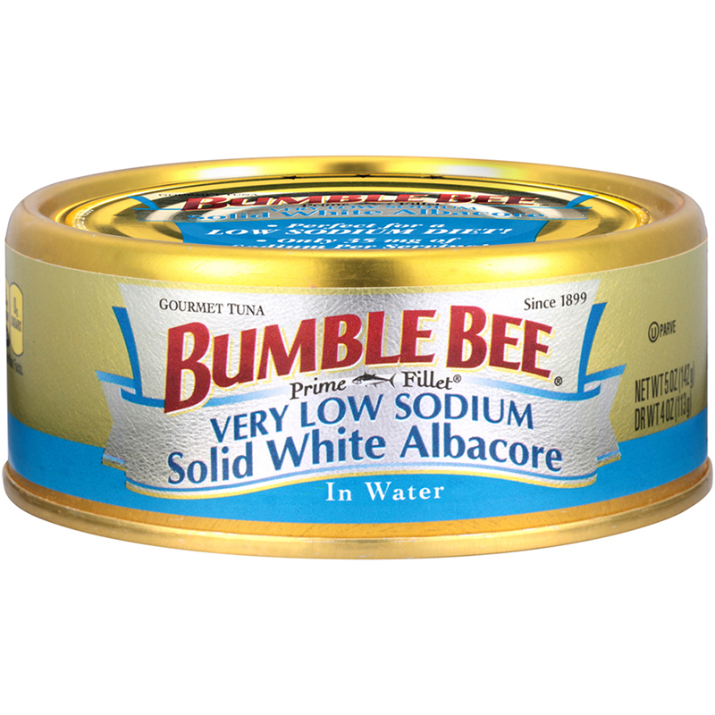 BUMBLE BEE - PRIME FILLET VERY LOW SODIUM SOLID WHITE ALBACORE (In Water) - GLUTEN FREE - 5oz