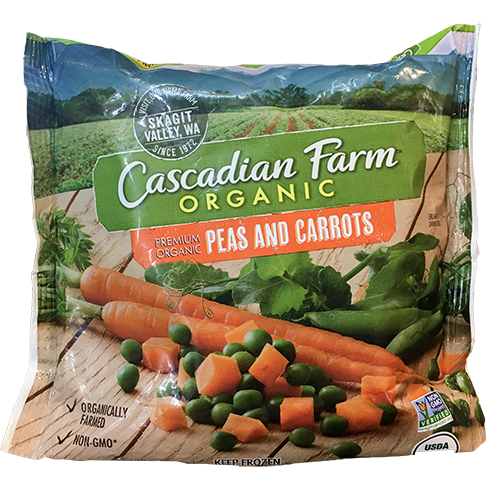 CASCADIAN FARM - ORGANIC PEAS AND CARROTS - NON GMO - 10oz