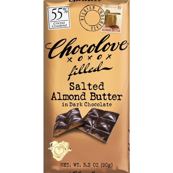 CHOCOLOVE XOXOX - DARK CHOCOLATE - 55% Salted Almond Butter - 3.2oz